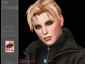 Sims 4 — Mike Eyeshadow by Reevaly — 6 Swatches. Teen to Elder. Male and Female. Works with all Skins and Overlays. Base