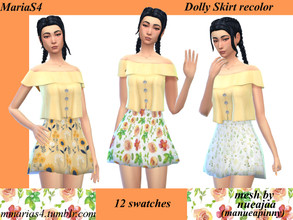 Sims 4 — MariaS4 Dolly Skirt Floral Patterns Recolor (needs mesh) by MMariaS4 — A recolor of the Dolly Skirt by