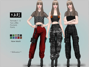 Sims 4 — KARI - Industrial Cargo Pants by Helsoseira — Style : Goth/Industrial high waisted, two utility pockets cargo