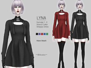 Sims 4 — LYNA - Gothic Mini Dress by Helsoseira — Style : Goth stand collar strappy dress Name : LYNA Sub part Type :