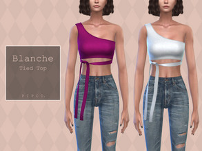 Sims 4 — Pipco - Blanche Top. by Pipco — 18 Swatches Base Game Compatible New Mesh All Lods Specular and Normal Maps