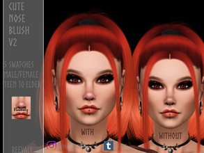 Sims 4 — Cute Nose Blush V2 by Reevaly — 5 Swatches. Teen to Elder. Male and Female. Works with all Skins and Overlays.
