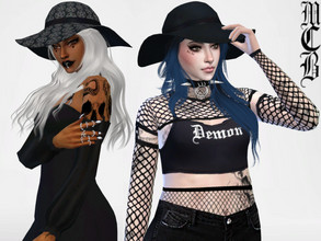 Sims 4 — Witchy Hat by MaruChanBe2 — Cool and big summer hat for your goth and witch sims <3 You don't need a mesh, it