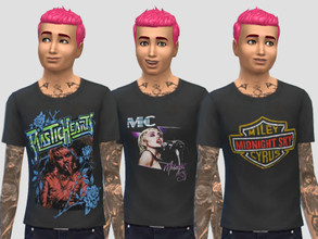 Sims 4 — Miley Cyrus Merch Set by ArcadeSimmer20 — 3 Miley Cyrus Merch style T-Shirts