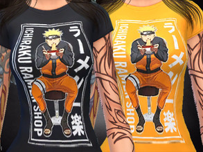 Sims 4 — Naruto Shirt by TeddiTerri2 — COMES WITH TWO SHIRTS, ONE BLACK AND THE OTHER ORANGE. BOTH WITH NARUTO ON THE