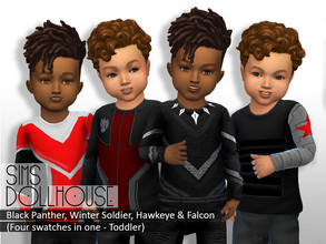 Sims 4 — Sims Dollhouse Black Panther And More - Outfit set (Toddler) by SimsDollhouse — - Black Panther, Hawkeye, Winter