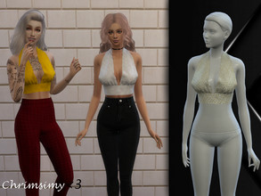 Sims 4 — Halter Top by chrimsimy — -female top -14 swatches -custom thumbnail -all LODs -hq compatible I hope you like