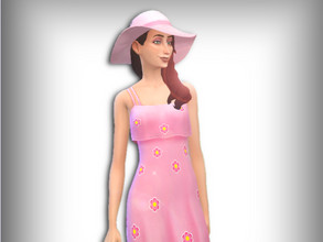 Sims 4 — Flowery Spring Hat by EmmaSimsX — Pastel coloured straw hat that comes in five swatches