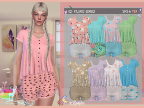 Sims 4 — DSF PAJAMAS BOMBICI by DanSimsFantasy — This outfit consists of a flared shirt with soft tea shorts. It has 40