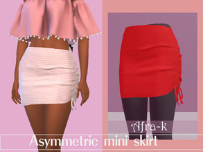 Sims 4 — Asymmetric mini skirt by akaysims — Asymmetric mini skirt - New mesh - 15 swatches - Custom thumbnail - HQ