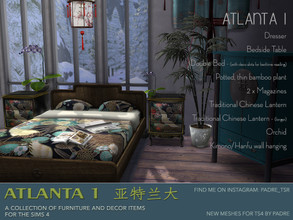 Sims 4 — Padre Atlanta 1 Furniture and Deco by Padre — An Asian-inspired set of furniture and deco meshes