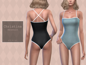 Sims 4 — Pipco - Christina Swimsuit. by Pipco — 15 Swatches Base Game Compatible New Mesh All Lods Specular and Normal