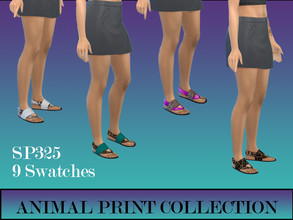 Sims 4 — Animal Print Collection by simsplayer325 — Requires Spa Day Expansion pack. Cute summer shoes