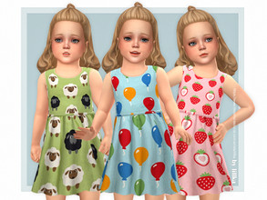 Sims 4 — Sina Dress by lillka — Sina Dress for Toddler 3 swatches Base game compatible Custom thumbnail Hair by