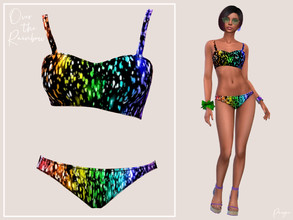 Sims 4 — Over the Rainbow by Paogae — Matching swimwear, asymmetrical, with shoulder straps, black background and rainbow