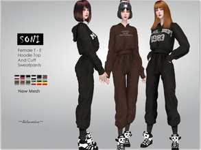 Sims 4 — SONI - Hoodie and Sweat pants by Helsoseira — Style : Casual hoodie top with sweat pants - outfit Name : SONI