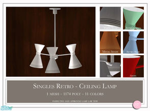 Sims 2 — Singles Retro Ceiling Lamp by DOT — Singles Retro Ceiling Lamp. 1 MESH Plus recolors. Sims 2 by DOT of The Sims