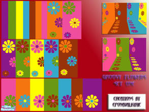 Sims 2 — EponaGroovyFlowersSet1 by EponaValkyrie — A new 28 piece decorating set inspired by a Groovy 60\'s retro theme.