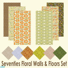 Sims 2 — Seventies Floral Walls & Floors Set by Sheera — This set includes 12 items : 6 walls and their 6 matching
