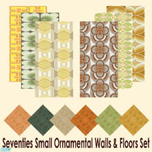 Sims 2 — Seventies Small Ornamental Walls & Floors Set by Sheera — This set includes 12 items : 6 walls and their 6