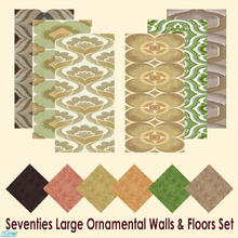 Sims 2 — Seventies Large Ornamental Walls & Floors Set by Sheera — This set includes 12 items : 6 walls and their 6