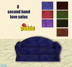 Sims 2 — grks 2nd hand love sofas by greeksim — 8 worn out velvet love seats which are what your sims need for their