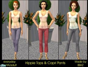 Sims 2 — Hippie Tops & Capri Pants by BBKZ — Feel free this Summer! Three wonderful outfits for your sim ladies...