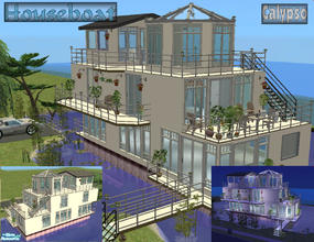 "Sims 2 — Calypso - Furnished by Cerulean Talon — Elegance and luxury abound with this beautiful ""houseboat\""."