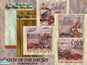 Sims 2 — Catch of the Day Set by drewsoltesz — A set of four paintings/posters and two walls to decorate that seafood