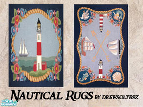 "Sims 2 — Nautical Rugs by drewsoltesz — Recolour of the Pets EP object ""Weirdness is Art Rug\"", these nautical"