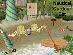 Sims 2 — Nautical Theme Inspired Beach Set by TheNumbersWoman — Weathered and old this set even comes with that old