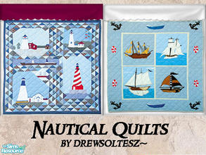 Sims 2 — Nautical Quilts by drewsoltesz — Two nautical themed quits/bedding for your Sims needs! Would look great in any